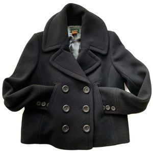 J. Crew Double Breasted Navy Wool Crop Pea Coat